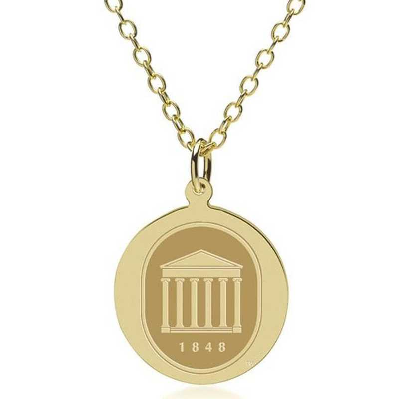 615789991144: Ole Miss 18K Gold Pendant & Chain by M.LaHart & Co.