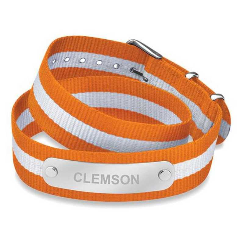 615789127918: Clemson (Size-Large) Double Wrap NATO ID Bracelet