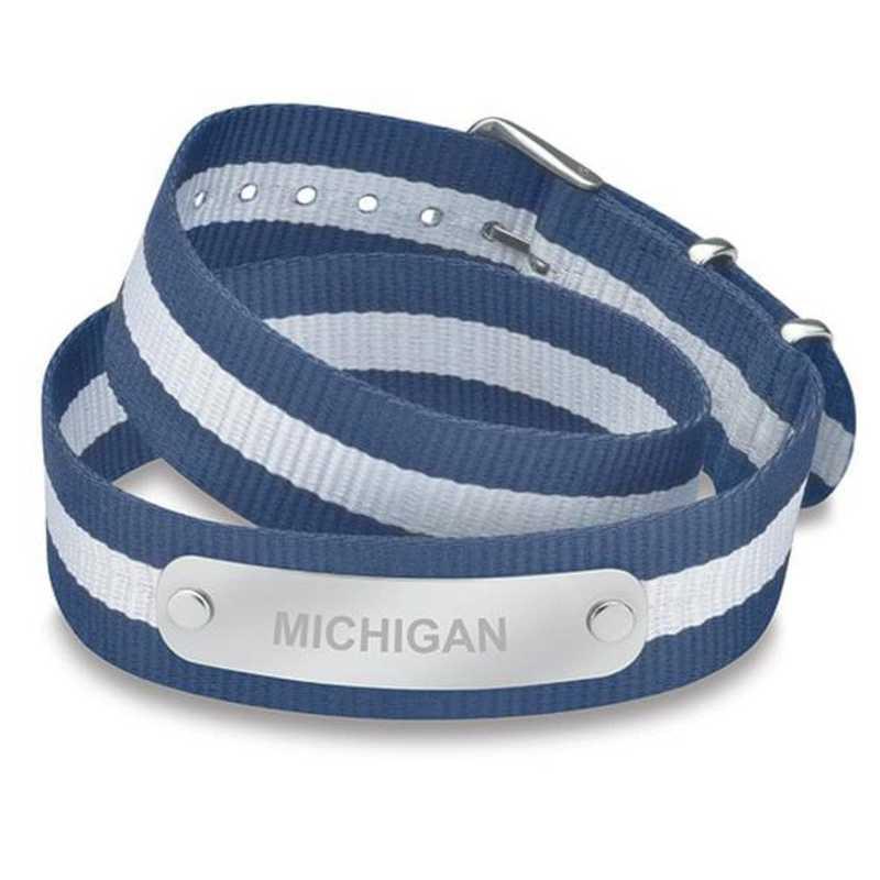 615789192541: Michigan (Size-Medium) Double Wrap NATO ID Bracelet