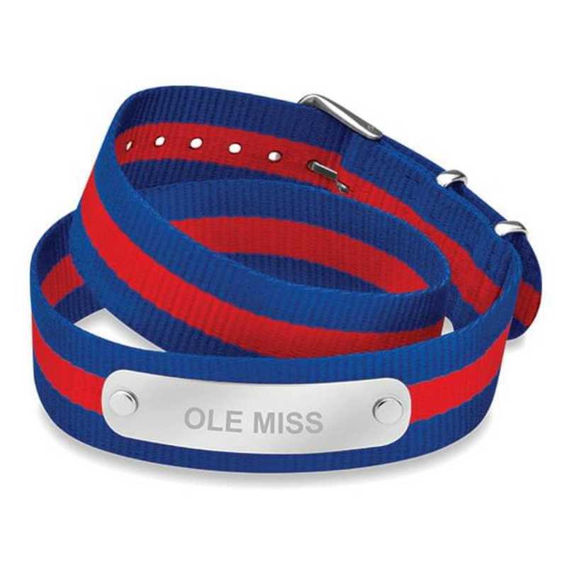 615789526834: Ole Miss (Size-Large) Double Wrap NATO ID Bracelet