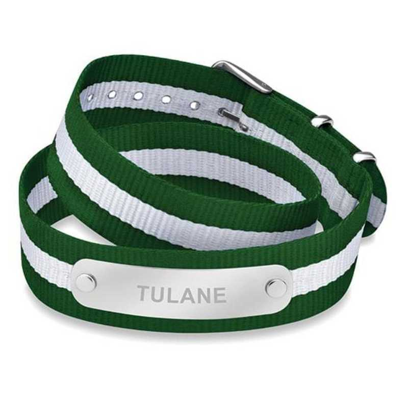 615789823025: Tulane University (Size-Medium) Double Wrap NATO ID Bracelet