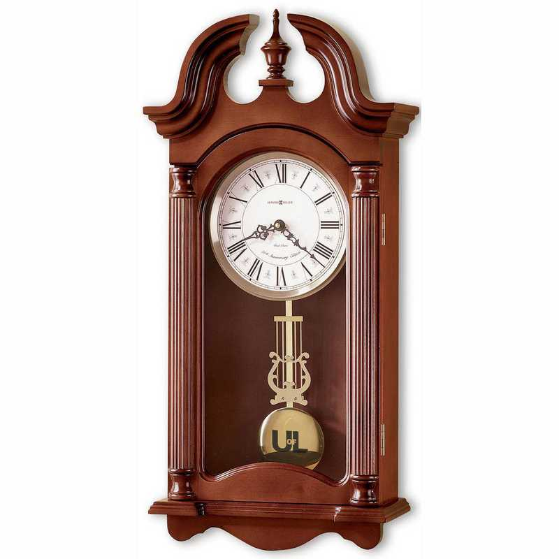 615789679165: University of Louisville Howard Miller Wall Clock