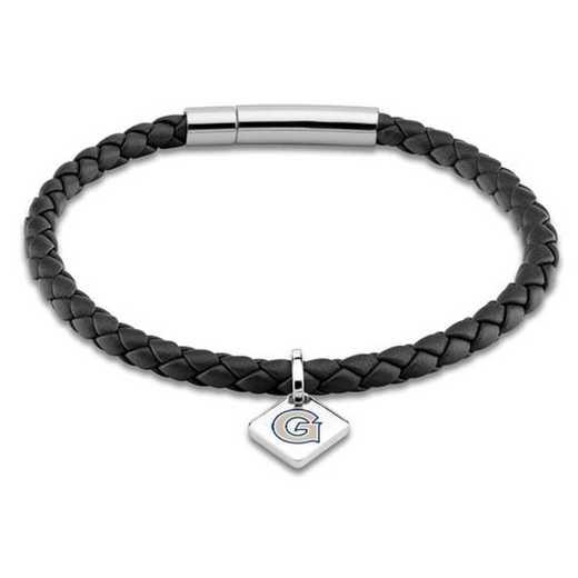 615789167976: Georgetown Leather Bracelet w/SS Tag - Black