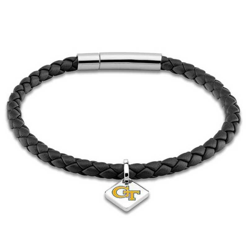 615789266389: Georgia Tech Leather Bracelet w/ Sterling Silver Tag - Black
