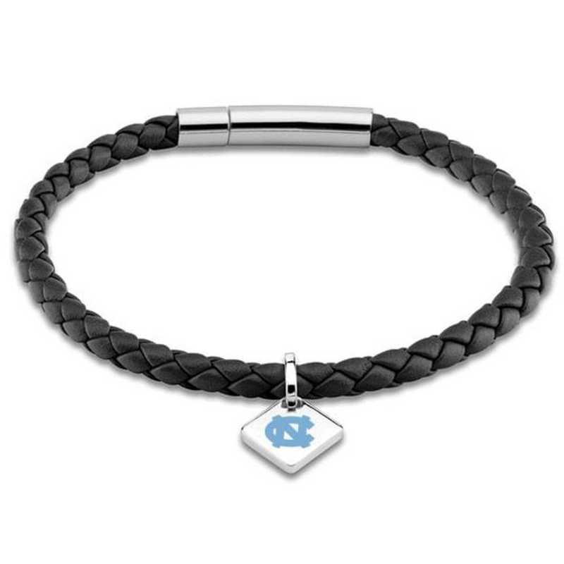 615789283928: UNC Leather Bracelet w/SS Tag - Black