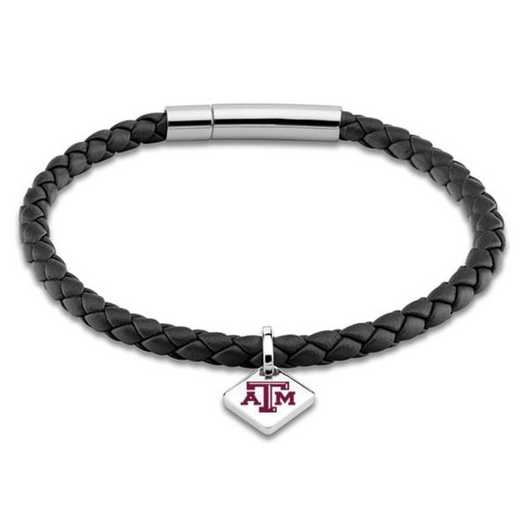 615789374961: Texas A&M Leather Bracelet w/SS Tag - Black