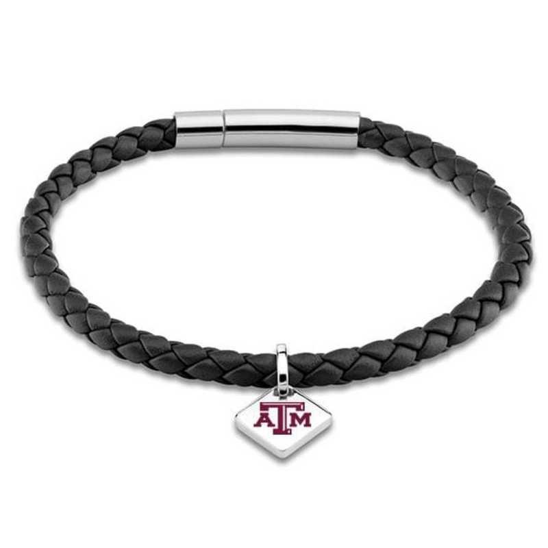 615789374961: Texas A&M Leather Bracelet w/SS Tag - Black