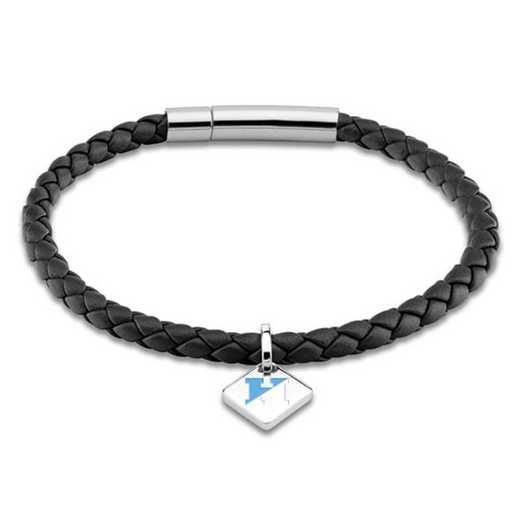615789544562: JHU Leather Bracelet w/SS Tag - Black