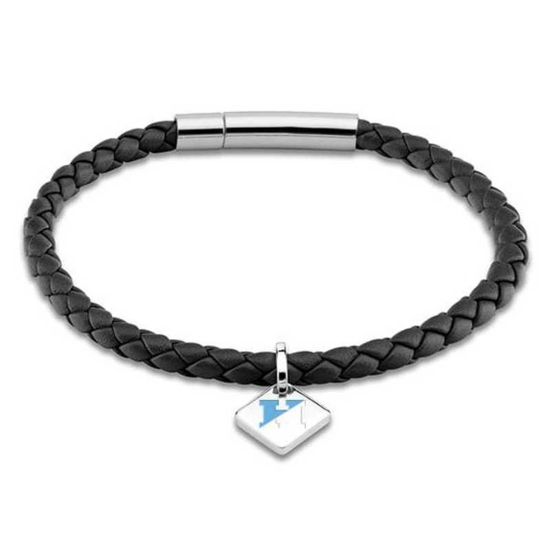 615789544562: JHU Leather Bracelet w/SS Tag - Black