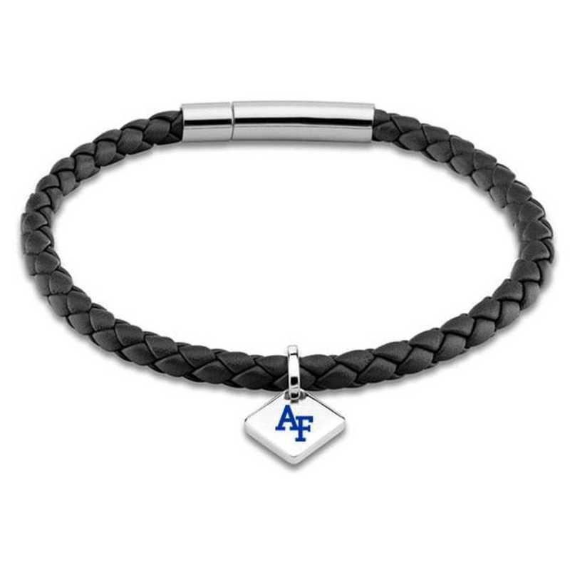 615789560210: USAFA Leather Bracelet w/SS Tag - Black