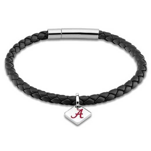 615789565765: Alabama Leather Bracelet w/SS Tag - Black