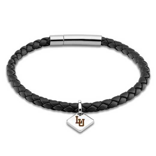 615789566717: Lehigh University Leather Bracelet w/SS Tag - Black