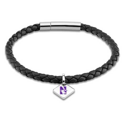 615789630937: Northwestern Leather Bracelet w/ Sterling Silver Tag - Black