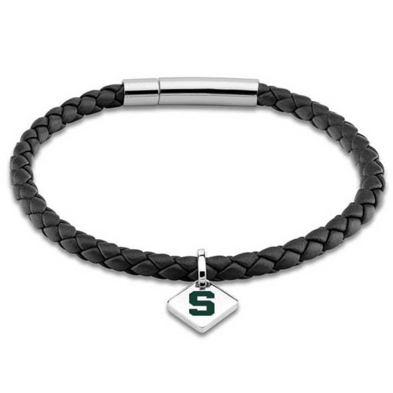 615789711155: MSU Leather Bracelet w/SS Tag - Black