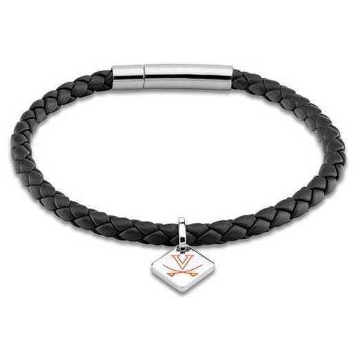 615789744917: Virginia Leather Bracelet w/SS Tag - Black