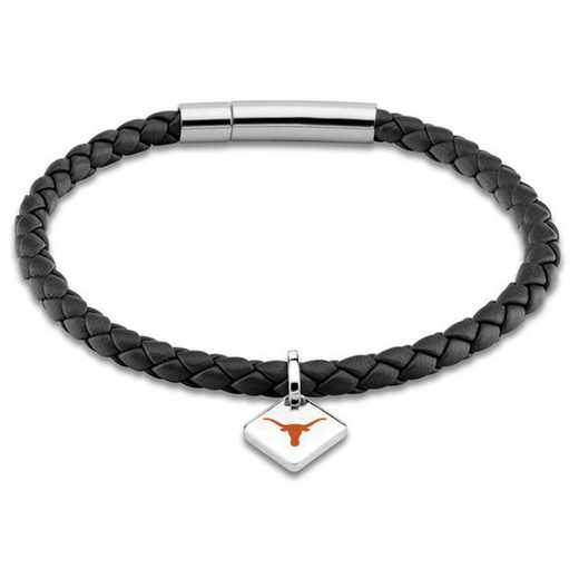 615789748427: University of Texas Leather Bracelet w/SS Tag - Black