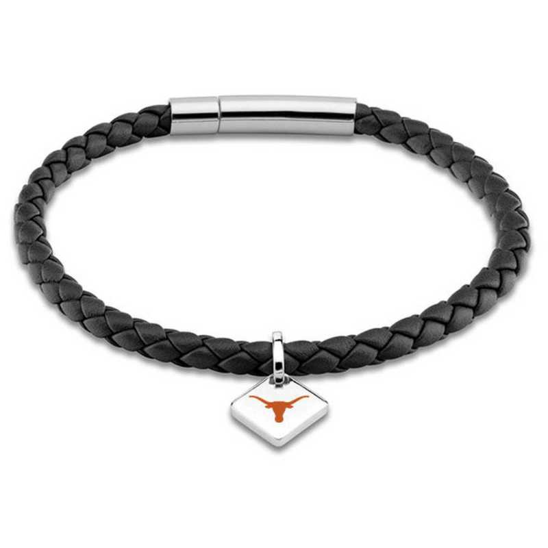 615789748427: University of Texas Leather Bracelet w/SS Tag - Black