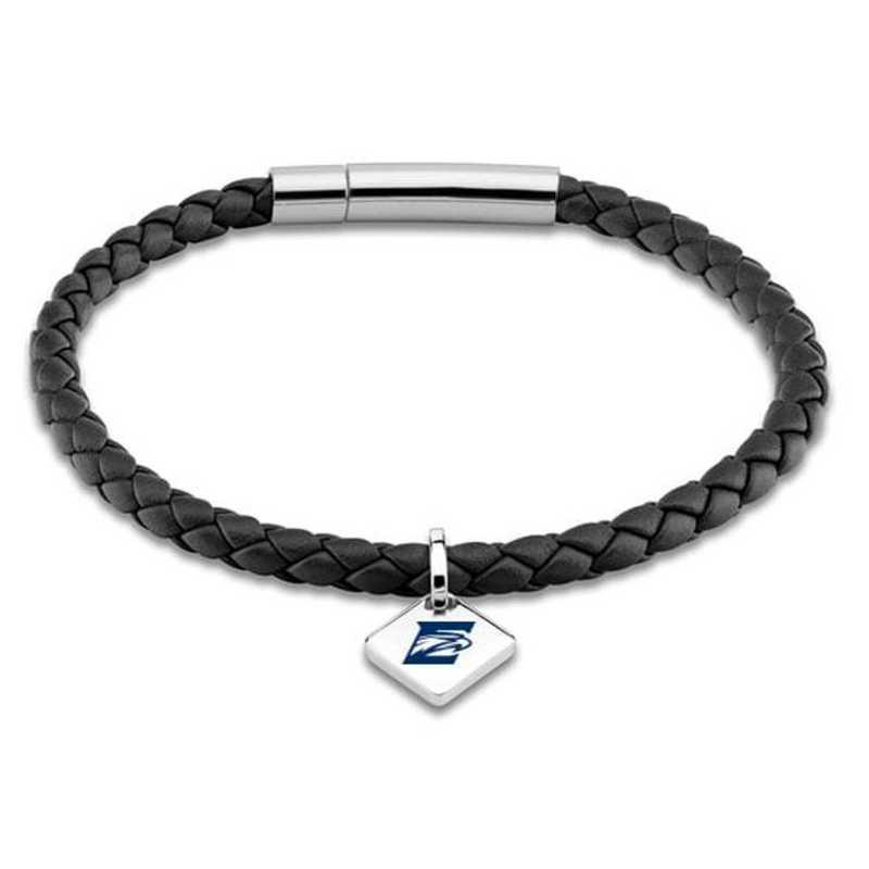 615789792147: Emory Leather Bracelet w/SS Tag - Black
