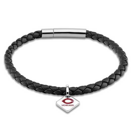 615789830634: Chicago Leather Bracelet w/SS Tag - Black