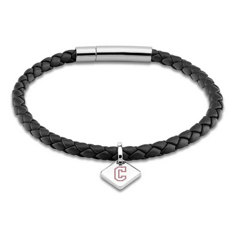 615789864790: College of Charleston Leather Bracelet w/SS Tag - Black