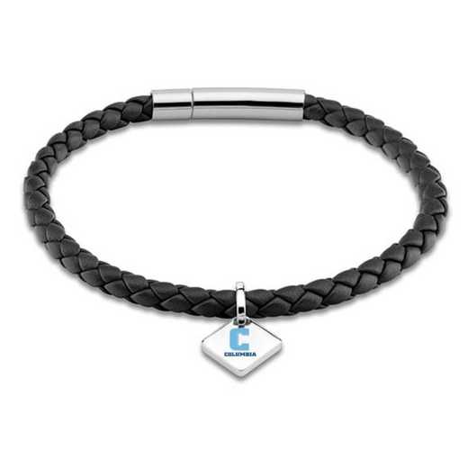 615789888758: Columbia Leather Bracelet w/SS Tag - Black