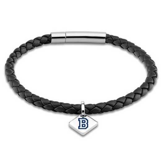 615789913429: Bucknell Leather Bracelet w/SS Tag - Black