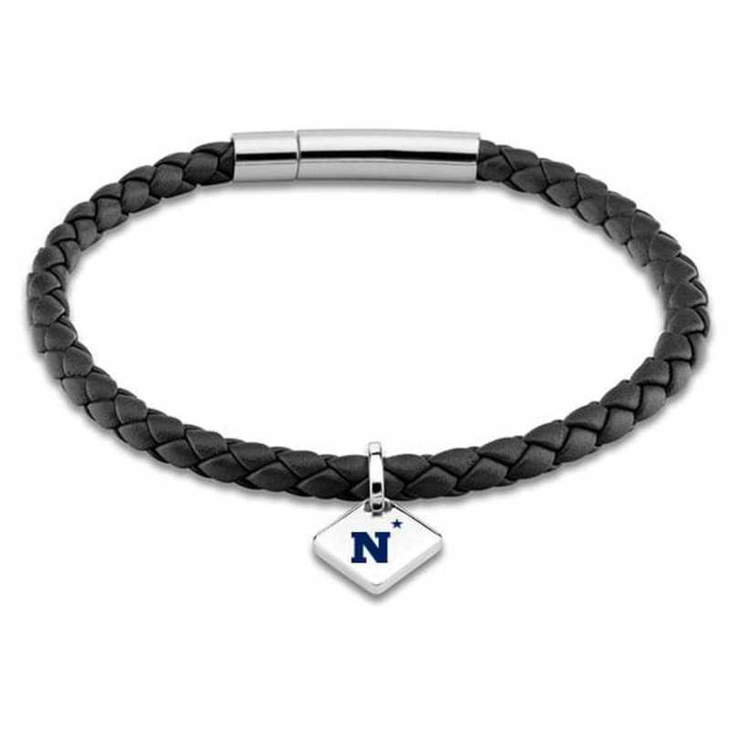 615789917410: USNA Leather Bracelet w/SS Tag - Black