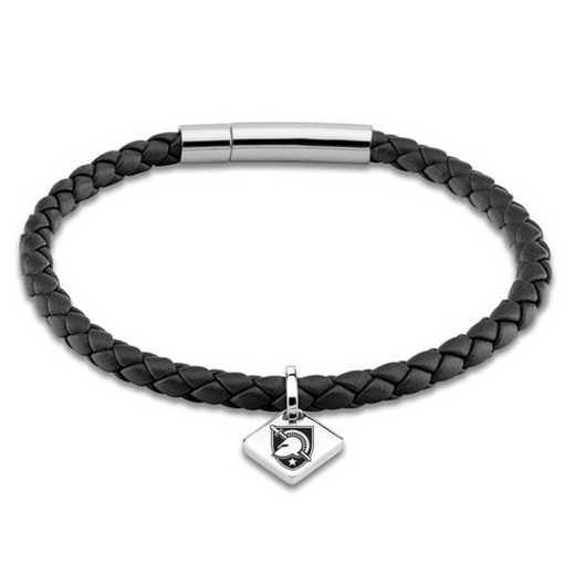 615789958871: US Military Academy Leather Bracelet w/SS Tag - Black