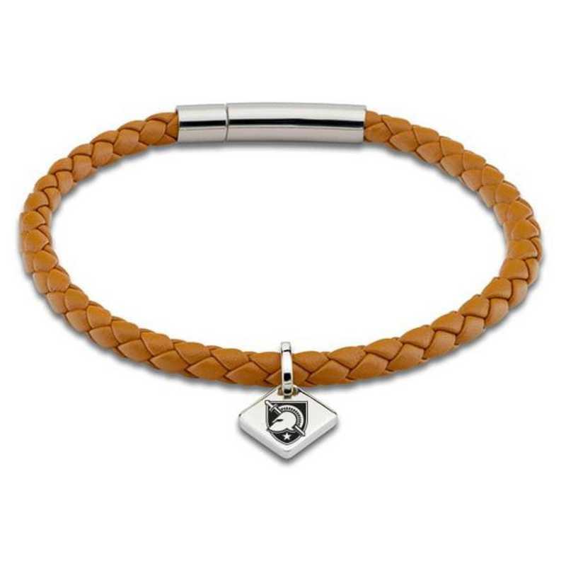 615789169017: US Military Academy Leather Bracelet w/SS Tag - Saddle