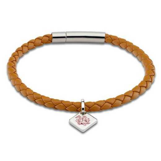615789212652: University of South Carolina Leather Bracelet w/SSTag-Saddle
