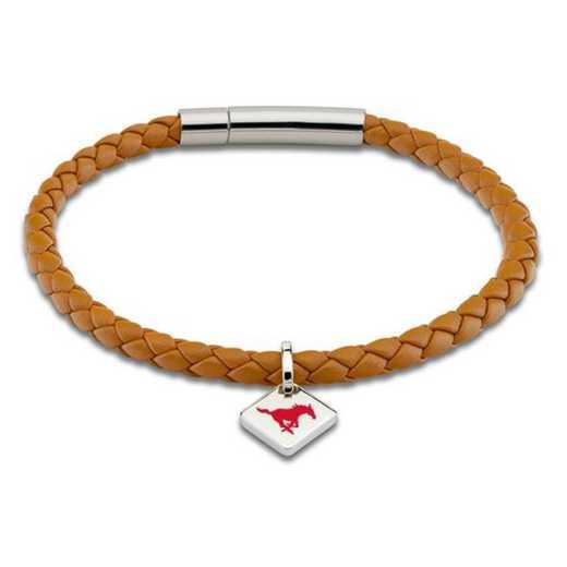 615789286950: Southern Methodist Univ Leather Bracelet w/SS Tag - Saddle