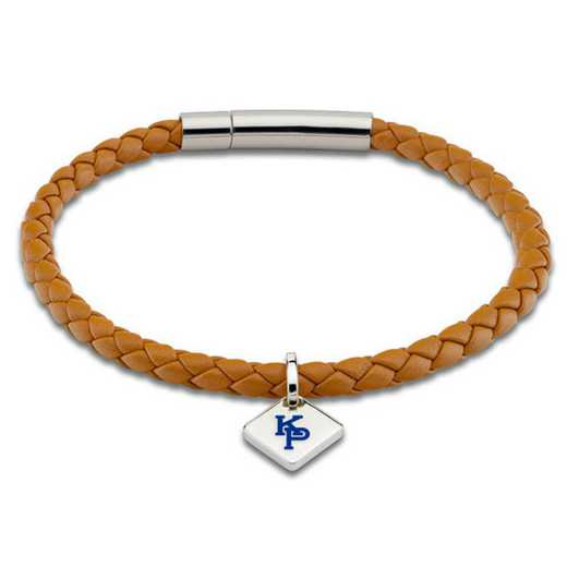 615789308478: US Merchant Marine Academy Leather Bracelet w/SS Tag -Saddle