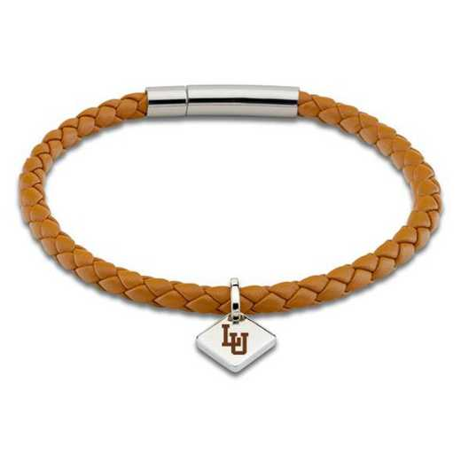 615789376279: Lehigh University Leather Bracelet w/SS Tag - Saddle