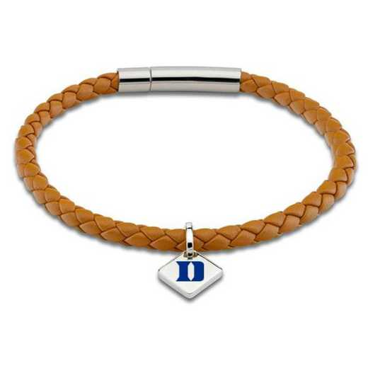 615789392637: Duke Leather Bracelet w/SS Tag - Saddle