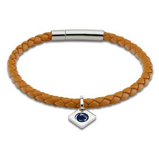 615789396604: Penn State Leather Bracelet w/SS Tag - Saddle