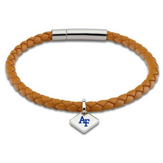 615789620556: USAFA Leather Bracelet w/SS Tag - Saddle