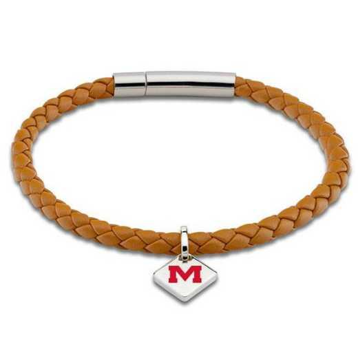 615789702061: Ole Miss Leather Bracelet w/SS Tag - Saddle
