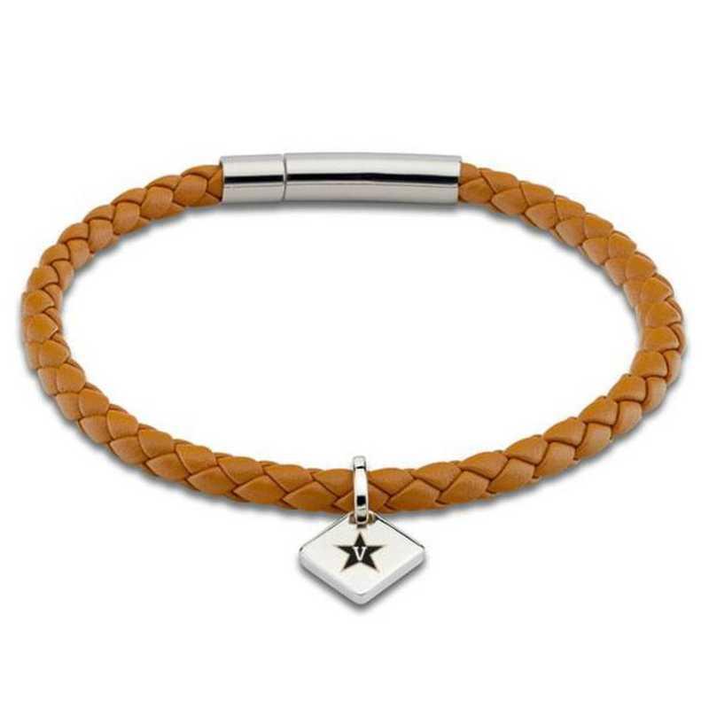 615789748557: Vanderbilt University Leather Bracelet w/SS Tag - Saddle