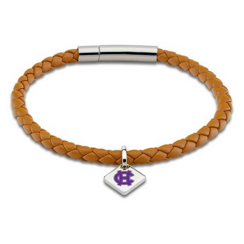 615789764113: Holy Cross Leather Bracelet w/SS Tag - Saddle