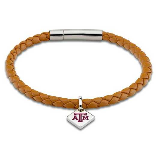 615789838845: Texas A&M Leather Bracelet w/SS Tag - Saddle