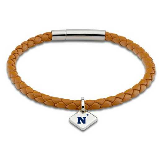 615789917533: USNA Leather Bracelet w/SS Tag - Saddle