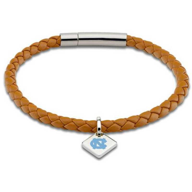 615789920663: UNC Leather Bracelet w/SS Tag - Saddle
