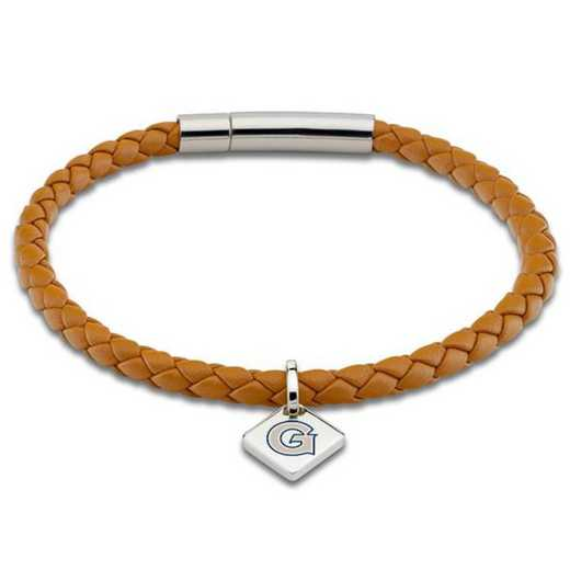 615789936480: Georgetown Leather Bracelet w/ Sterling Silver Tag - Saddle