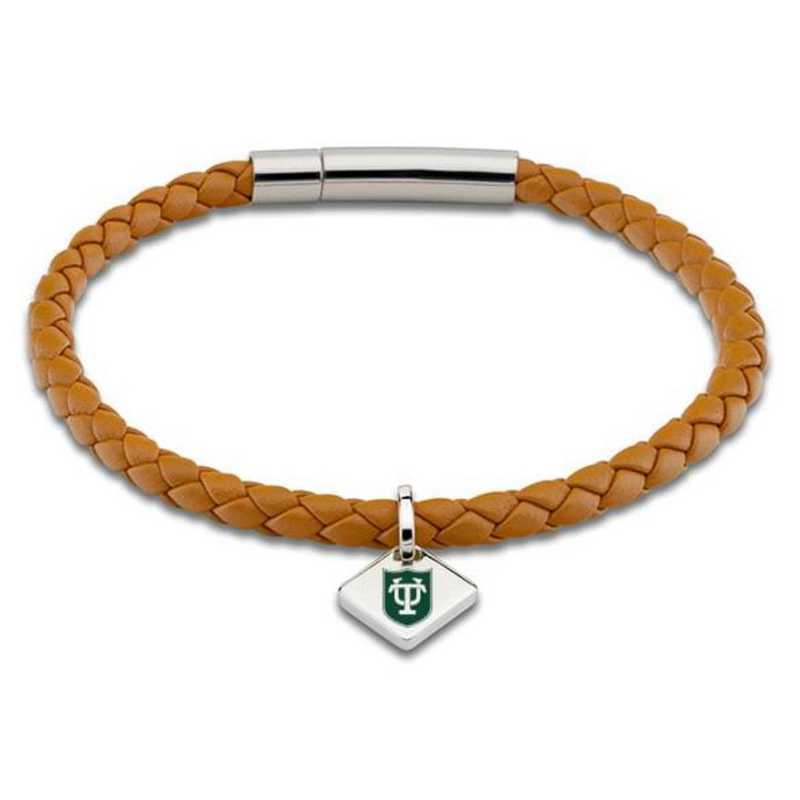 615789939849: Tulane University Leather Bracelet w/SS Tag - Saddle