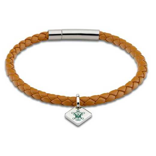 615789999157: College of William & Mary Leather Bracelet w/SS Tag - Saddle