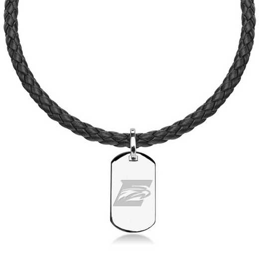 615789125099: Emory Leather Necklace with Sterling Dog Tag
