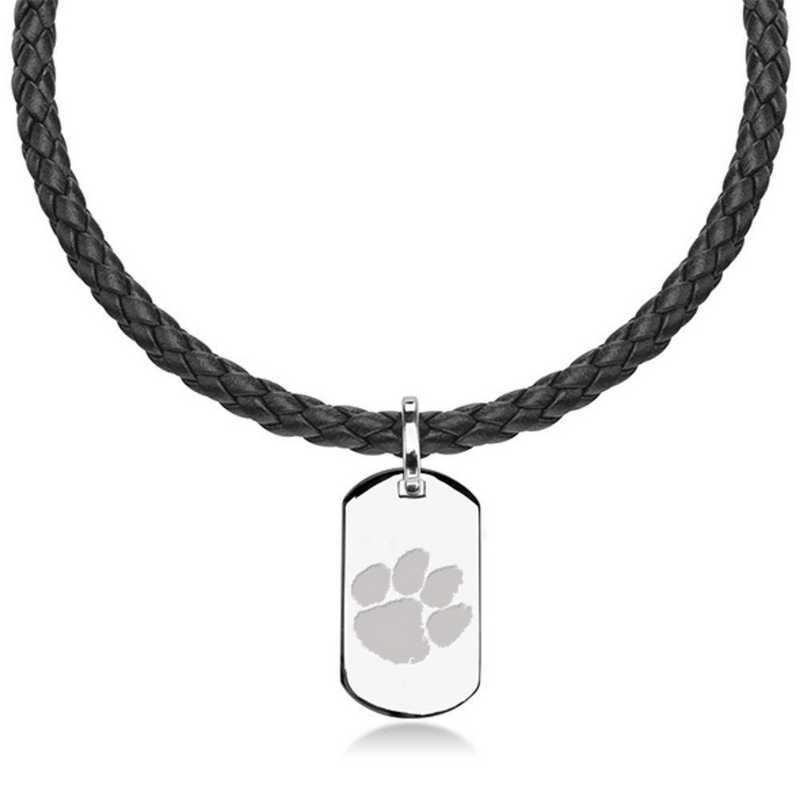 615789147046: Clemson Leather Necklace with Sterling Dog Tag