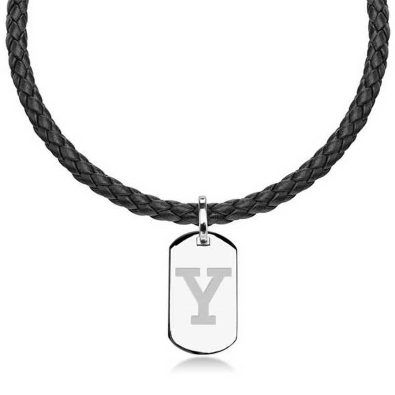 615789311379: Yale UNIV Leather Necklace W/ Sterling Dog Tag
