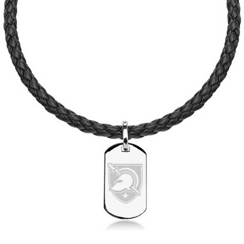 615789675044: US Military Academy Leather Necklace W/ Sterling Dog Tag