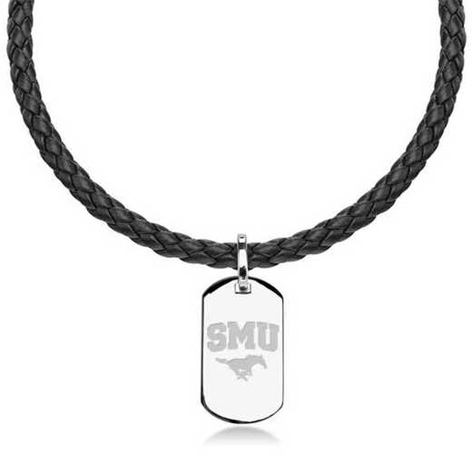 615789712152: Southern Methodist UNIV Leather Necklace W/ Sterling Dog Tag